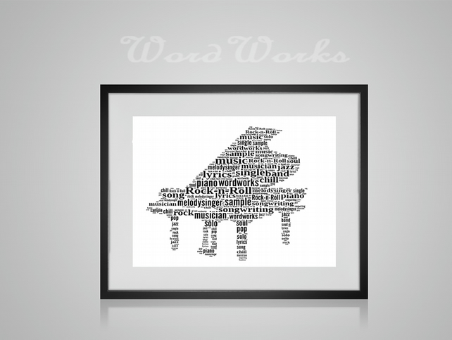 Personalised Piano Musical Instrument Design Word Art Gifts