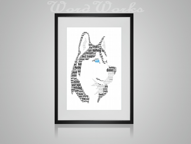 Personalised Siberian Husky Head Dog Design Word Art Gifts