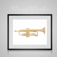Personalised Trumpet Musical Instrument Design Word Art Gifts