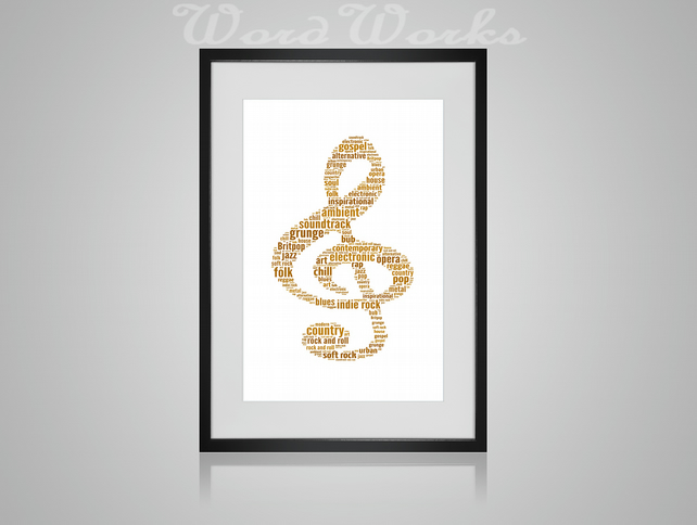 Personalised Treble Clef Music Musical Note Design Word Art Gifts