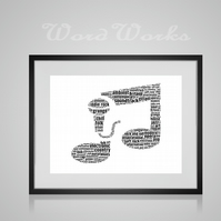 Personalised Singer Double Quaver Music Musical Note Design Word Art Gifts