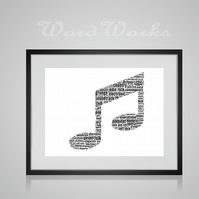 Personalised Double Quaver Music Musical Note Design Word Art Gifts
