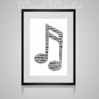 Personalised Musical Music Note Design Word Art Gifts