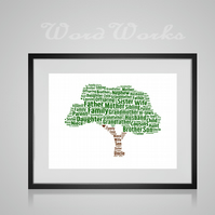 Personalised Family Tree Design Word Art Gifts