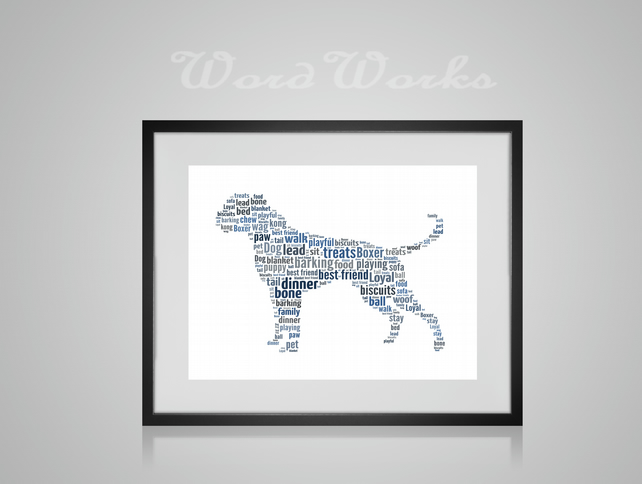 Personalised Boxer Dog Design Word Art Gifts