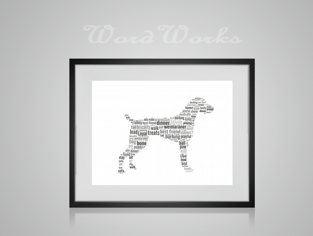 Personalised Weimaraner Dog Design Word Art Gifts