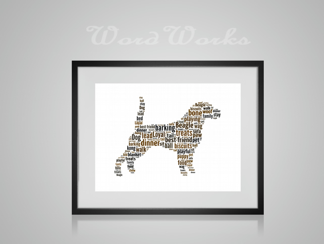 Personalised Beagle Dog Design Word Art Gifts