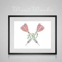 Personalised Darts Design Word Art Gifts