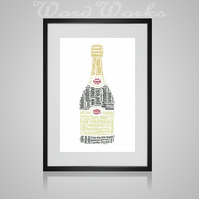 Personalised Retirement Champagne Bottle Design Word Art Gifts