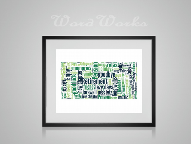 Personalised Retirement Design Word Art Gifts