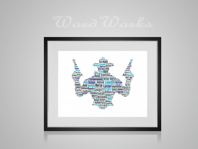 Personalised Cowboy with guns Design Word Art Gifts