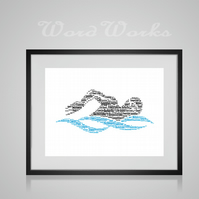 Personalised Swimmer Swimming Swim Design Word Art Gifts