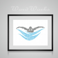 Personalised Swimming Swimmer Swim Design Word Art Gifts