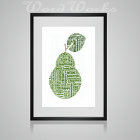 Personalised Best Teacher Pear Design Word Art Print