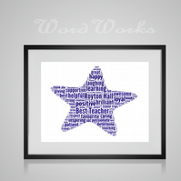 Personalised Best Teacher Star Design Word Art Print