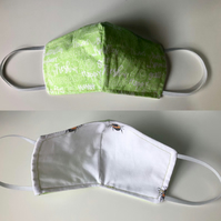 Adult SMALL 3 Layer Green Face Covering Face Mask