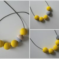Handmade Yellow & Grey Wood Wooden Bead Beaded Necklace - Minimalist Contrast