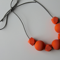 Handmade Peach Orange Wood Wooden Bead Beaded Necklace - Minimalist Geometric