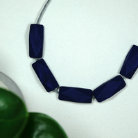 Handmade Navy Dark Blue Geometric Polygon Wood Wooden Bead Beaded Necklace