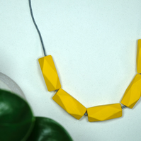 Handmade Mustard Yellow Geometric Polygon Wood Wooden Bead Beaded Necklace