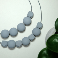 Handmade Grey Round & Geometric Wood Wooden Bead Beaded Necklace - Minimalist