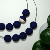 Handmade Navy Dark Blue Round Wood Wooden Bead Beaded Necklace - Minimalist
