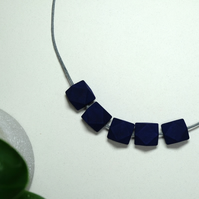 Handmade Navy Dark Blue Geometric Hexagon Wood Wooden Bead Beaded Necklace