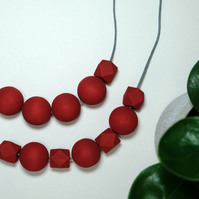 Handmade Red Round & Geometric Wood Wooden Bead Beaded Necklace - Minimalist