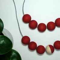 Handmade Red Round Wood Wooden Bead Beaded Necklace - Minimalist Metallic