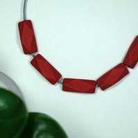 Handmade Red Geometric Polygon Wood Wooden Bead Beaded Necklace - Minimalist