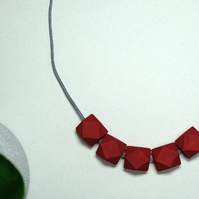 Handmade Red Geometric Hexagon Wood Wooden Bead Beaded Necklace - Minimalist