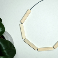 Handmade Natural Wood Wooden Bar Bead Beaded Necklace - Minimalist Geometric