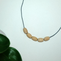 Handmade Natural Wood Wooden Oval Bead Beaded Necklace - Minimalist Statement