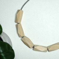 Handmade Natural Wood Wooden Polygon Bead Beaded Necklace - Minimalist Geometric