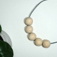 Handmade Natural Wood Wooden Textured Round Bead Beaded Necklace - Minimalist