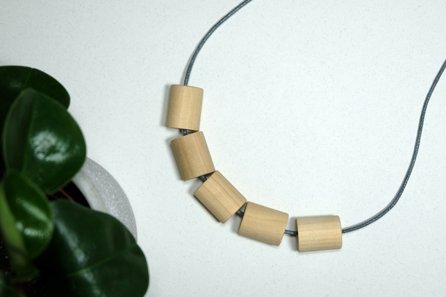 Handmade Natural Wood Wooden Barrel Bead Beaded Necklace - Minimalist Chunky