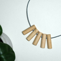 Handmade Natural Wood Wooden Tube Bead Beaded Necklace - Minimalist Chunky