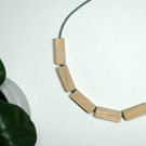 Handmade Natural Wood Wooden Rectangle Bead Beaded Necklace - Minimalist Chunky