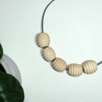 Handmade Natural Wood Wooden Honeypot Round Oval Bead Beaded Necklace - Minimal