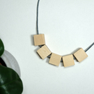 Handmade Natural Wood Wooden Square Cube Bead Beaded Necklace - Minimalist