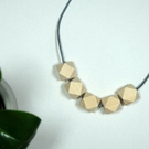 Handmade Natural Wood Wooden Geometric Bead Beaded Necklace - Minimalist Chunky