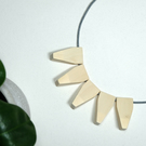 Handmade Natural Wood Wooden Hanging Pendant Bead Beaded Necklace - Minimalist