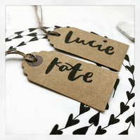 Personalised Wedding Tags, Hand Lettered, Brush Lettering