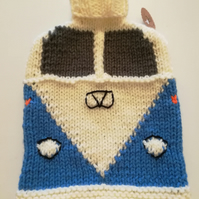 Blue Knitted Camper Van Hot Water Bottle Cover