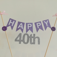 40th Number Birthday Cake Bunting