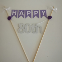 80th Number Birthday Cake Bunting