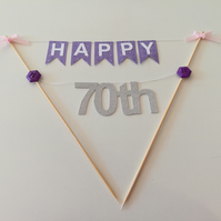 70th Number Birthday Cake Bunting