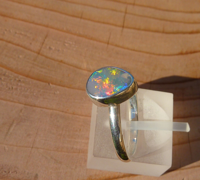 Silver opal ring, size M