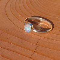 Fine band silver opal ring, size P
