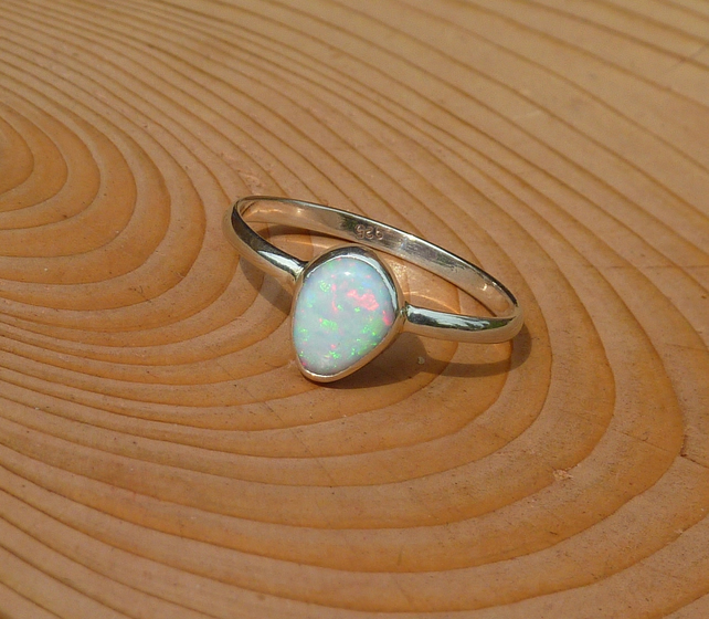 Silver opal ring, size T